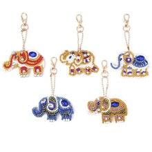 New 5D DIY Full Drill Special Diamond Painting Keychain Cartoon Animal Elephant  Keyrings Women Bag Pendant Key Ring Gifts