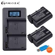 PALO EN-EL15 EN EL15 ENEL15 EL15A Piles LCD Double Chargeur USB pour Nikon D600 D610 D600E D800 D800E D810 D7000 D7100 d750 V1