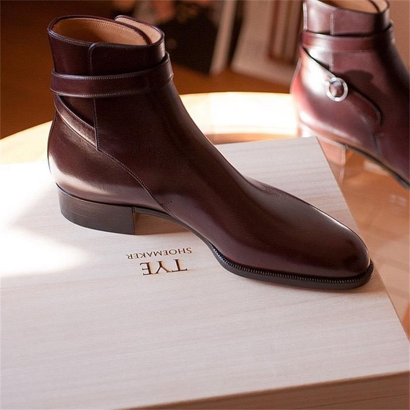 جديد حذاء رجالي موضة الاتجاه أنيق شهم الراقية اليدوية النبيذ الأحمر حزام PU مشبك الكلاسيكية الأعمال فستان الأحذية 3KC418