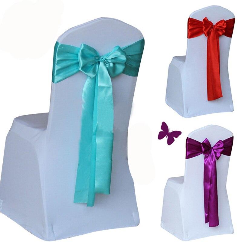 Barato 50 unids/lote rojo/dorado/azul 14 colores funda de silla de boda banda de cinta de lazo de tela de satén suministros de decoración para fiestas de Hotel