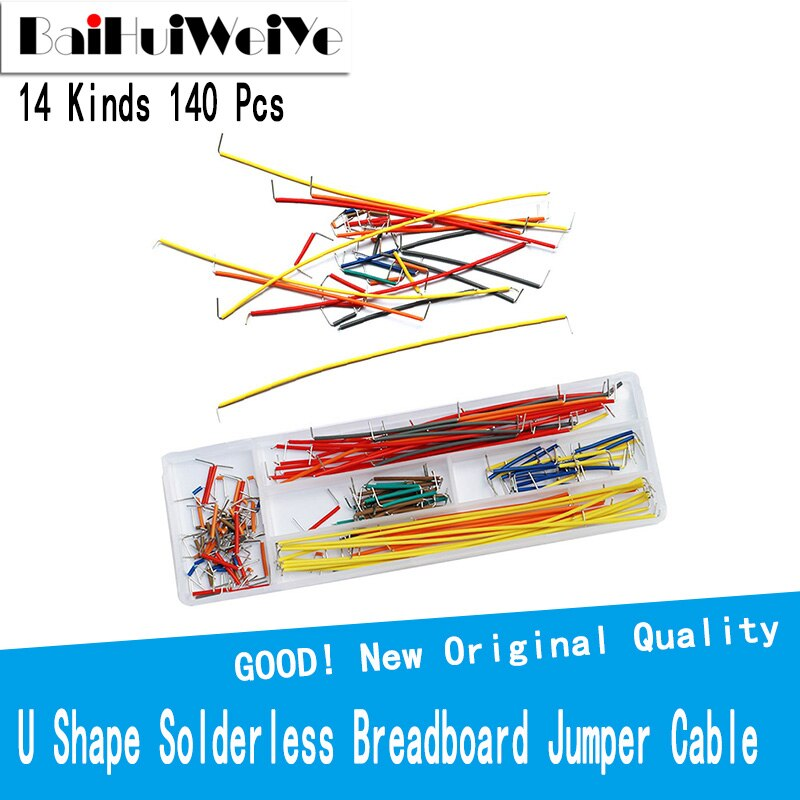 140Pcs 14kind U Shape Solderless Breadboard Jumper Cable Wire Kit For PCB Bread Board Arduino Shield For raspberry pi Drop недорого
