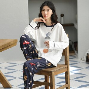 Female Lively Lovely Set Head Pajamas Suits 2PCs Can Be Worn Outside Spring Autumn Long Sleeves Korean Style пижама женская