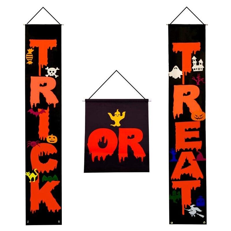 3 sztuk cukierek albo psikus na Halloween wiszący Banner zestaw Halloween ganek znak Banner Halloween dekoracje na drzwi