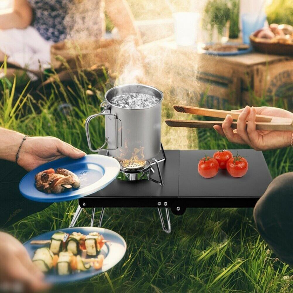 Camping Table Stove Stand Sturdy Windproof Heat Insulation Mini Camping Table Gas Stove Stand for Outdoor BBQ Cooking Enthusiast