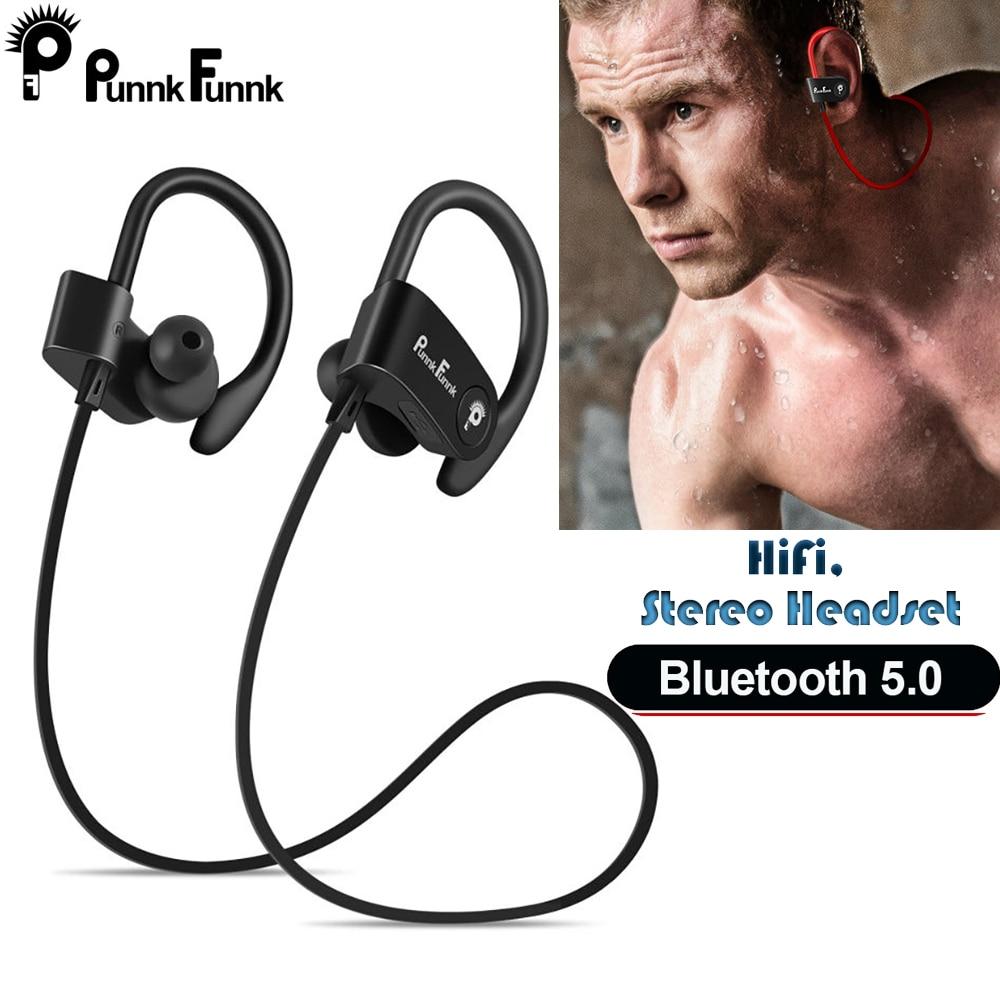 Auriculares Bluetooth inalámbricos, Auriculares Bluetooth 5,0 deportivos, Ipx4 resistentes al agua, auriculares estéreo con micrófono PunnkFunnk, auriculares para teléfono