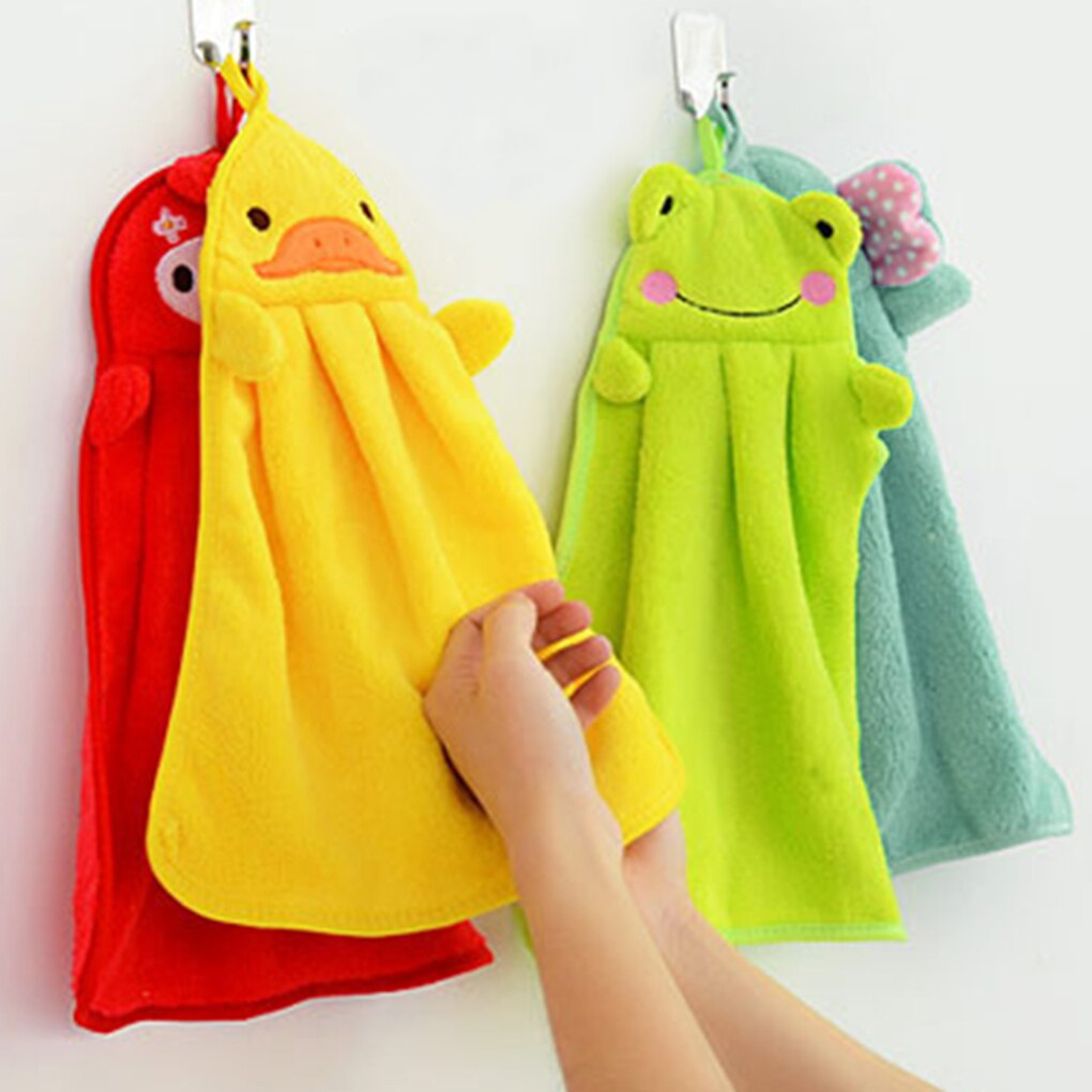 Toalla de baño de felpa suave para bebé, toalla de mano guardería de dibujos animados, Toalla de baño colgante para niños, baño, cocina