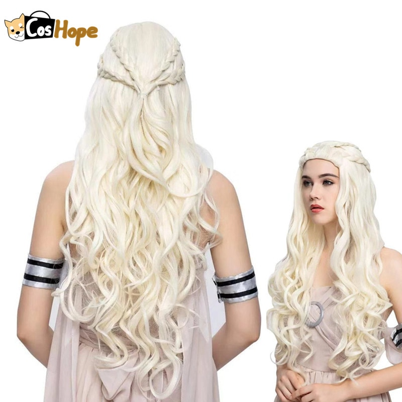 Daenerys Targaryen شعر مستعار تأثيري طويل أوف وايت كريستال مجعد موجة الباروكات أنيمي مقاومة للحرارة بيروكات صناعية هالوين تأثيري