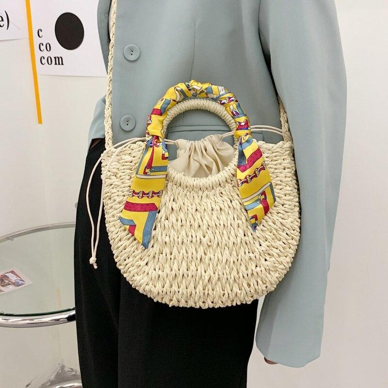 Straw Woven Tote Bags for Women 2021 New Moon Shape Shoulder Bag Hand-Weave Crossbody Bag Lady Summer Beach Resort Messenger Bag