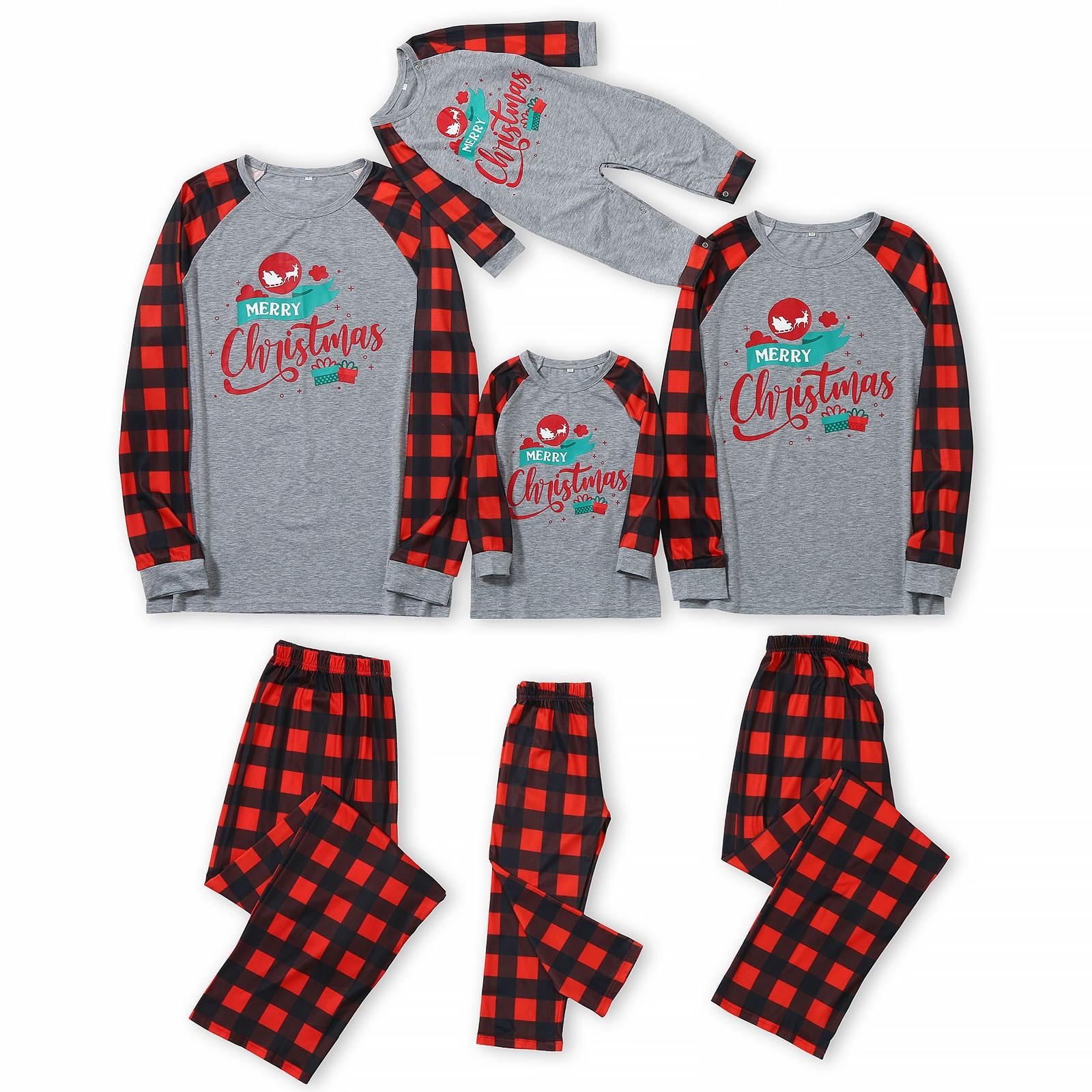 Navidad papá Mamá Me estampado Top + Pantalones a cuadros Navidad familia...