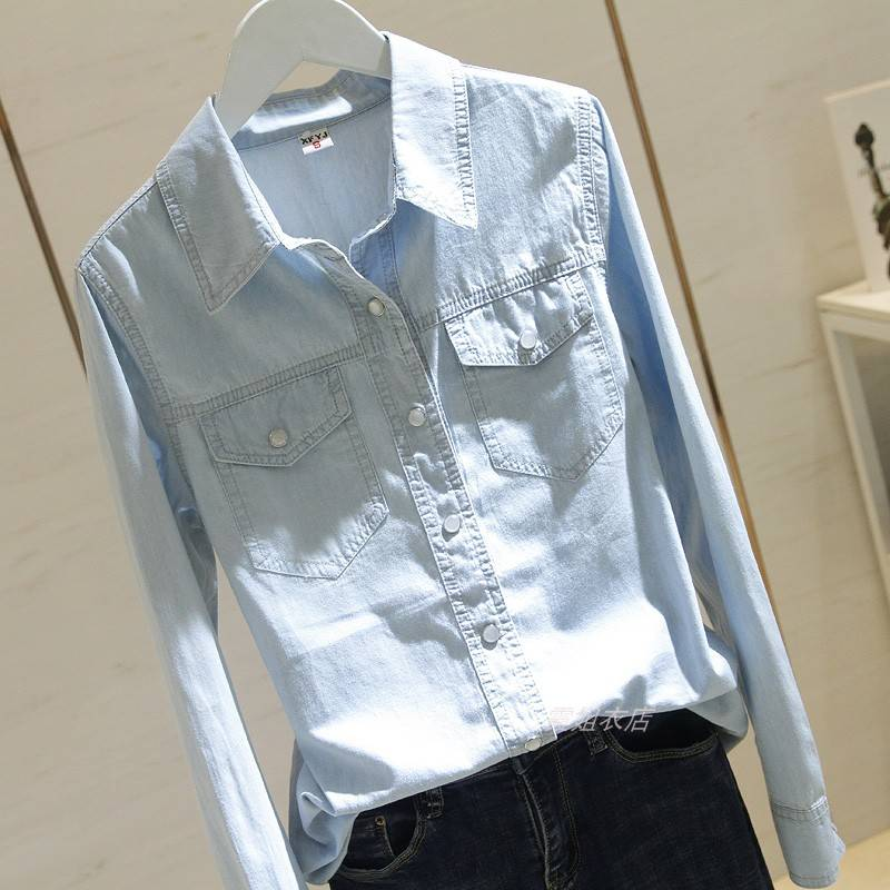Camisas jeans manga longa femininas, gola invertida, bolso duplo, combinada, casual s304 qualidade s304
