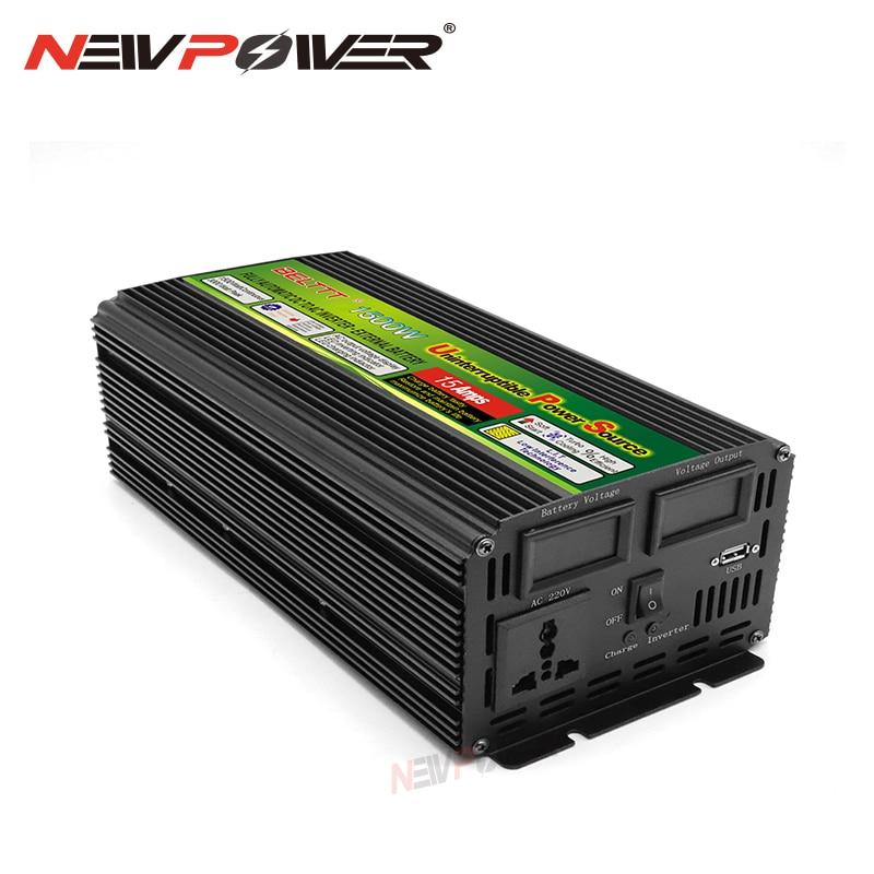 12 فولت 24 فولت UPS شرط موجة شحن العاكس 220 فولت 110 فولت عاكس الطاقة شاحن محول الجهد USB 1500 واط محول محول المنزل