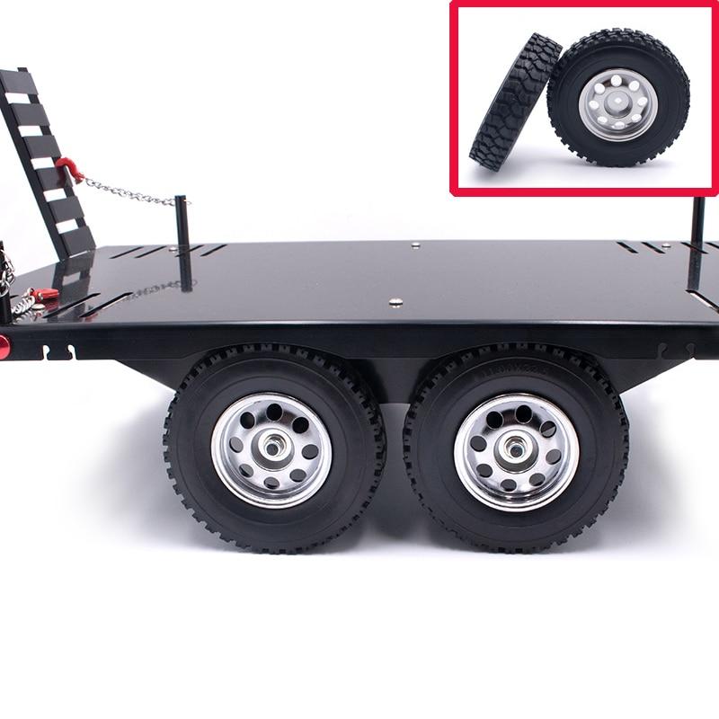 Rueda de coches de modelo simulado, 1 par/2 pares, DIY, remolque RC, neumáticos de oruga para coches, diámetro 85mm, ancho 22mm, neumático ABS, llanta de piel