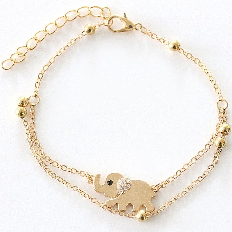 Gran oferta elefante de la suerte del Tesoro doble tobillera para señora rose Elefante dorado de diamantes de imitación accesorios para el tobillo especiales al por mayor