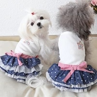 2021 new cute puppy dog dot denim tutu skirt fashion knit dogs clothes outerwear summer lovely pet dog chihuahua poodle dresses