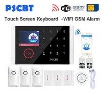 PSCBT     kit de capteurs de systeme dalarme de securite domestique sans fil  wi-fi  GSM  clavier LCD tactile  voix anglaise  russe et espagnole