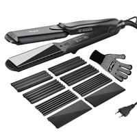 4 In 1 Hair Curling Iron+Heat Resistant Ceramic Hair Curler Roller Electric Hair Straightener Crimper Corrugated Curl Glove