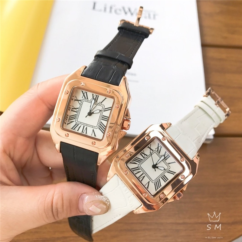 brand C chic quartz watches square watch genuine leather rose gold wrist watches dress watch for woman enlarge