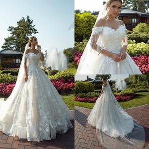 Robes De Mariée 2020 Tassel Wedding Dresses Lace 3D Floral Appliques Off Shoulder Bridal Gowns Sweep Train A Line Wedding Dress
