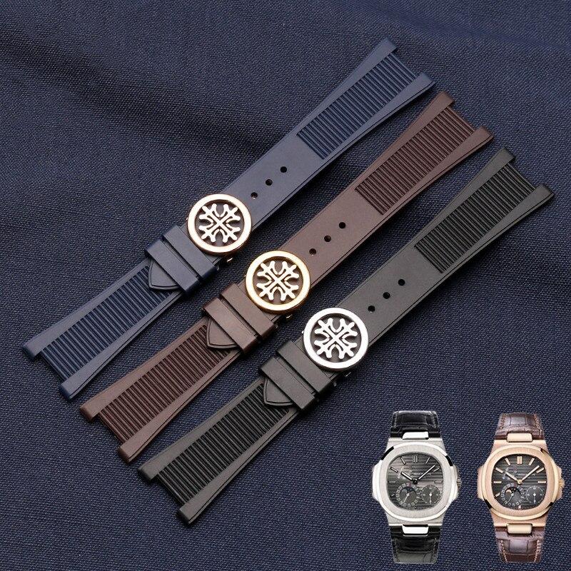 Accesorios de banda adecuado para Patek Philippe correa de reloj de 5711 de 5712 a 7010G impermeable de silicona pulsera primera 25mm
