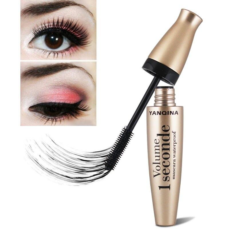 4D Тушь для ресниц из шелкового волокна, силиконовая кисть для длинных ресниц, толстая Удлиняющая Тушь для ресниц, водостойкая стойкая Косметика для макияжа глаз TSLM2