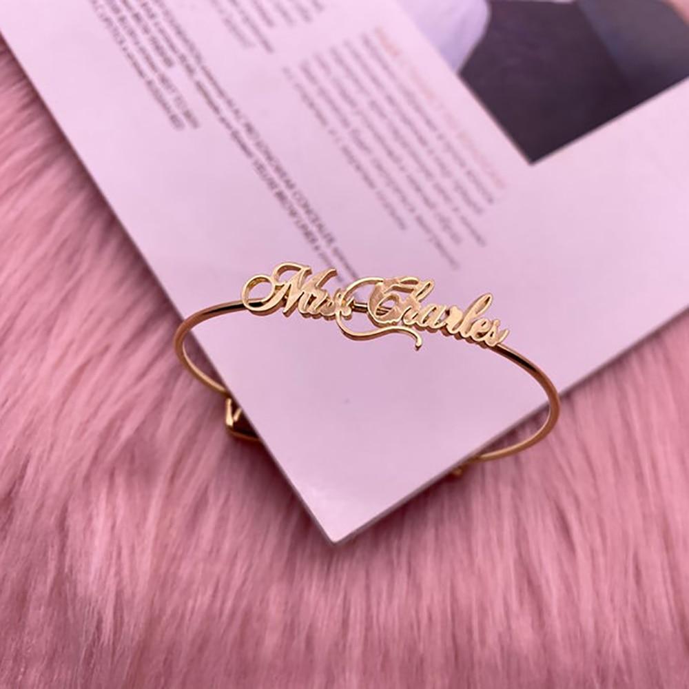 Tangula Custom  Name Personalized Bracelets Women Stainless Steel Gold Women Bracelets Mom Birthday