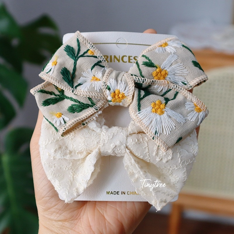 2Pcs/Set Korean Sweet Embroidery Bows Hair Clip For Kids Girls Boutique Handmade Hairpins Barrettes