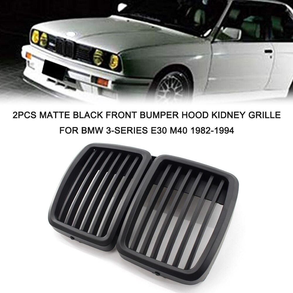 2 uds mate negro parachoques delantero Hood Kidney Grille Racing Grille reemplazo para BMW Serie 3 E30 M40 1982-1994