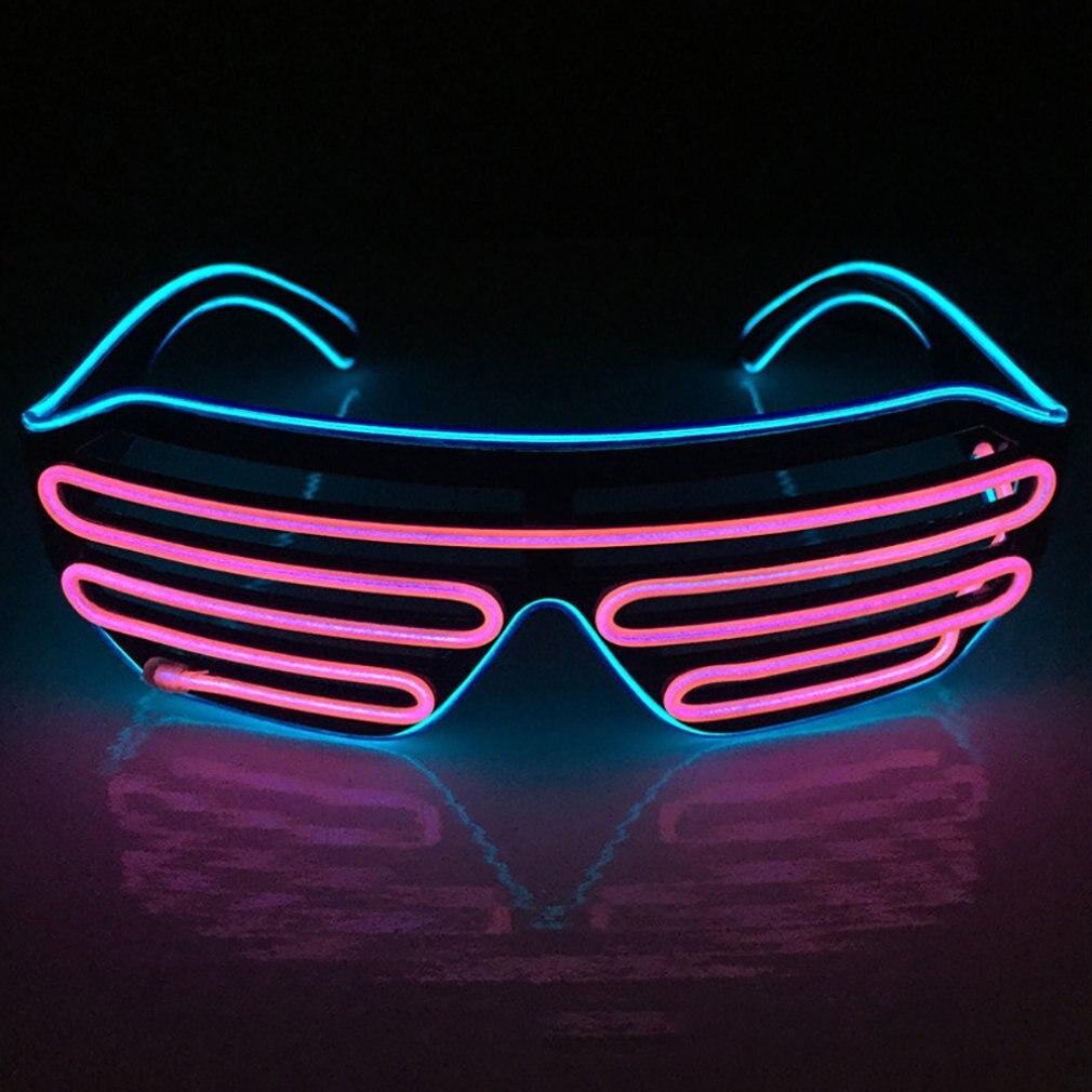 Persianas de dos colores, gafas de luz fría, vidrios fluorescentes Led, decoración para espectáculos de Cocktail, gafas para Halloween, accesorios para actuación de fiesta