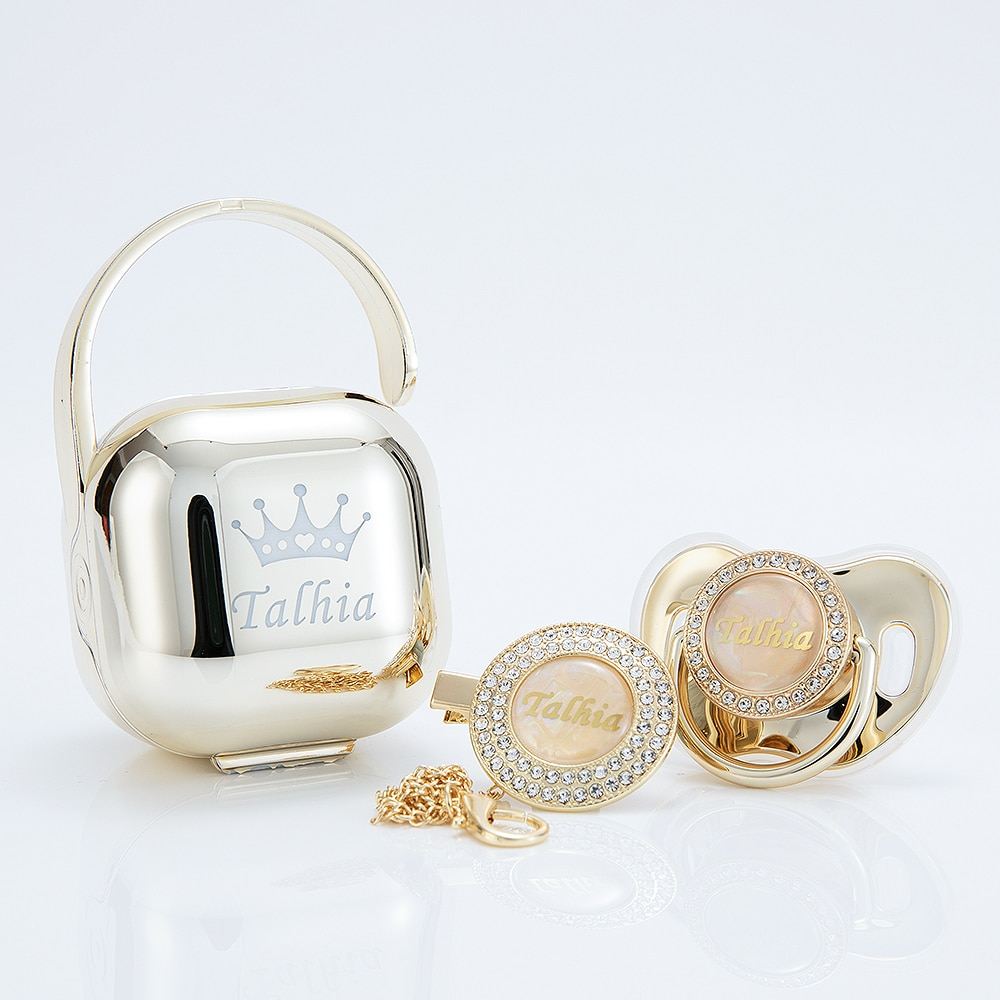 MIYOCAR custom made Metallic gold bling pacifier and clip pacifier box set BPA free dummy Luxury