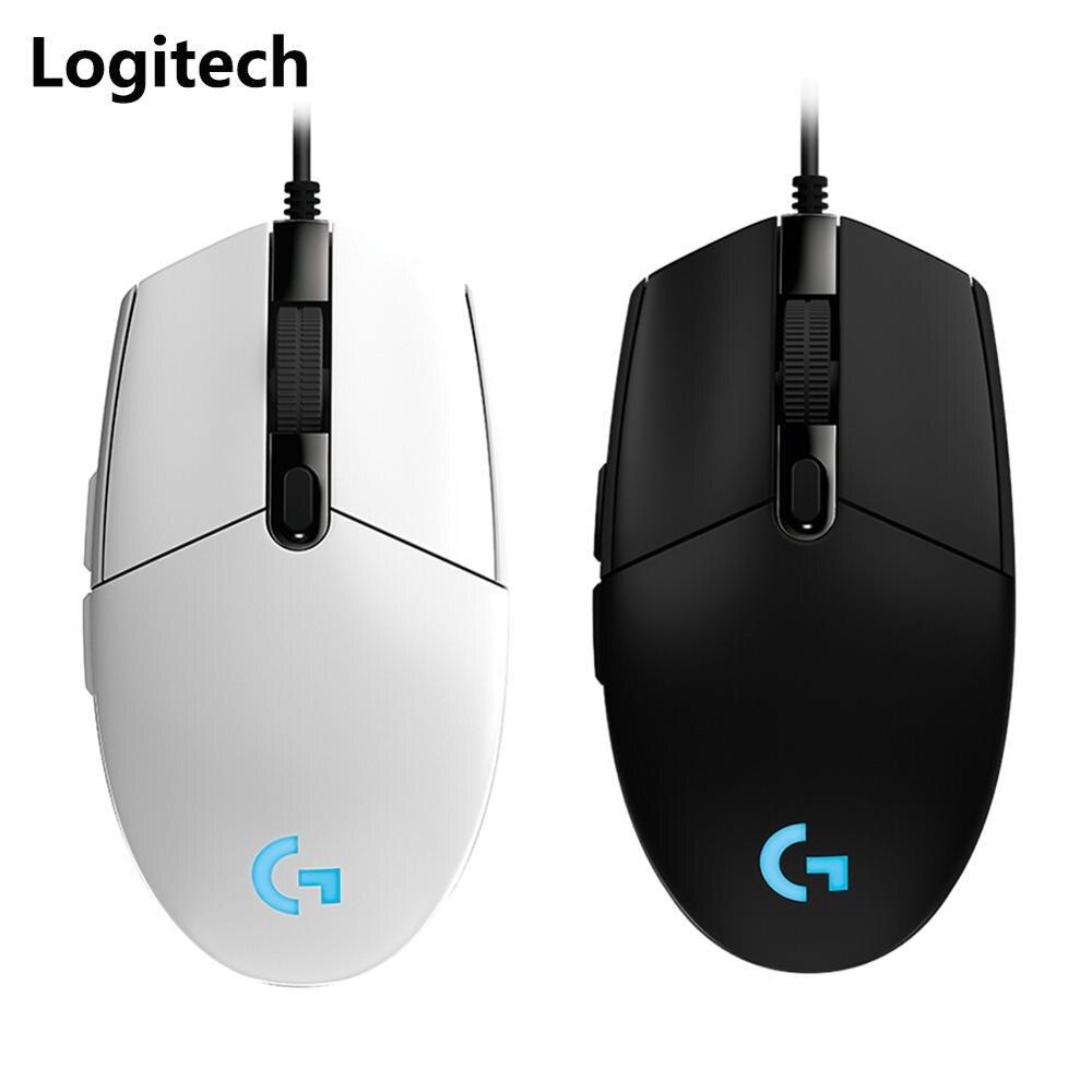 Logitech g102 gaming mouse ajustável 8000dpi rgb macro programável botão mecânico com fio mouse jogo ratos para computador portátil janela Mouse    -