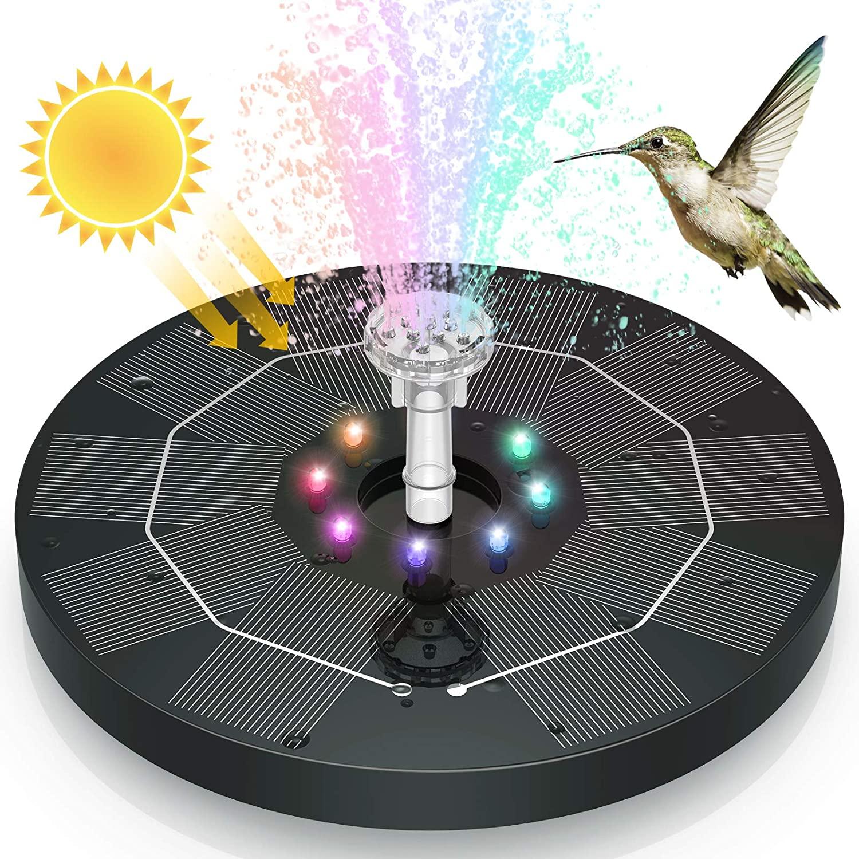 نافورة شمسية AISITIN 3.5 واط LED لحوض الطيور ، نوافير مياه شمسية مع بطارية 3000mAh 6 فوهات ، مضخة نافورة تعمل بالطاقة الشمسية