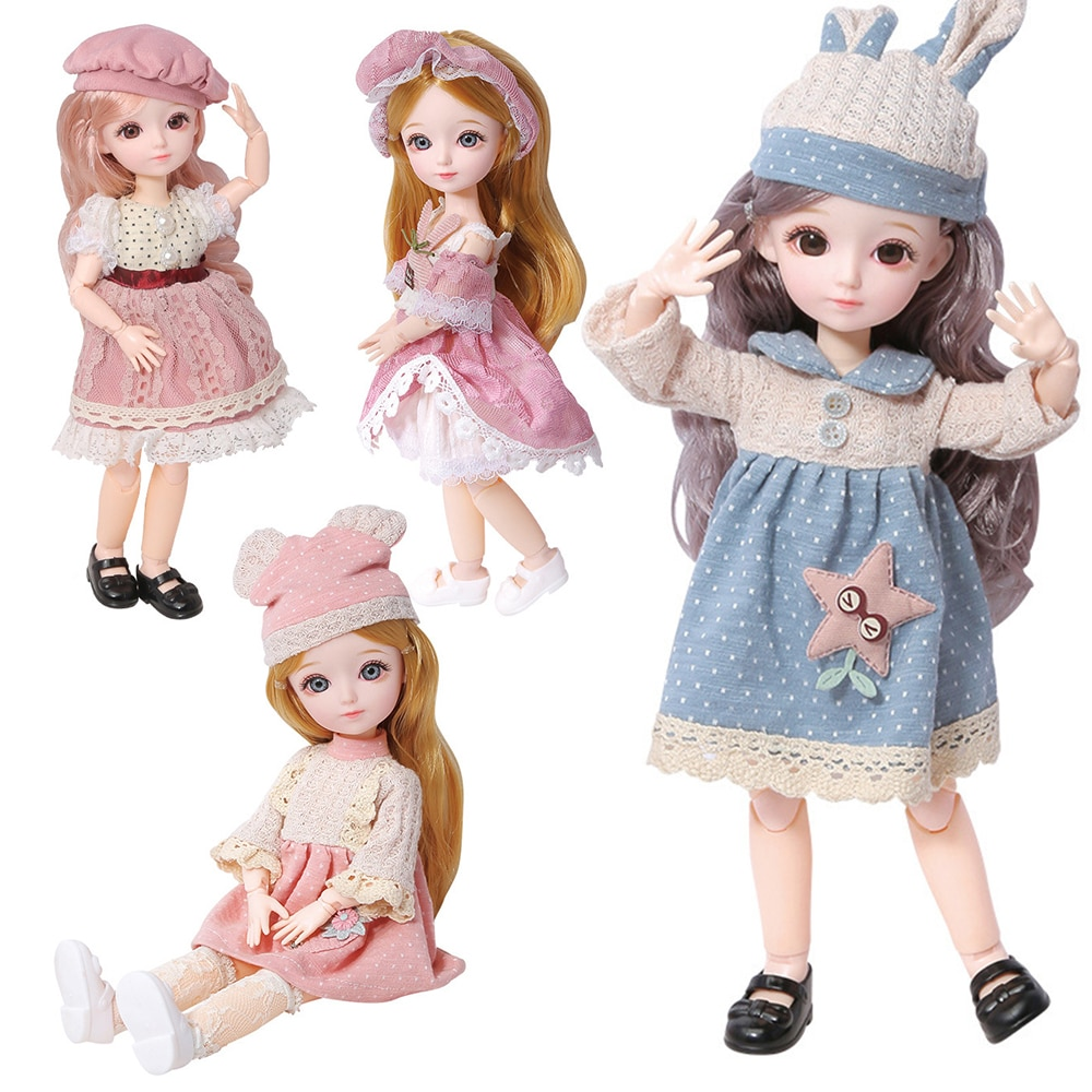 New 22 Movable Joints BJD Blyth Doll Full Set 1/6 Makeup Dress Up Cute Brown Blue Eyeball Dolls with