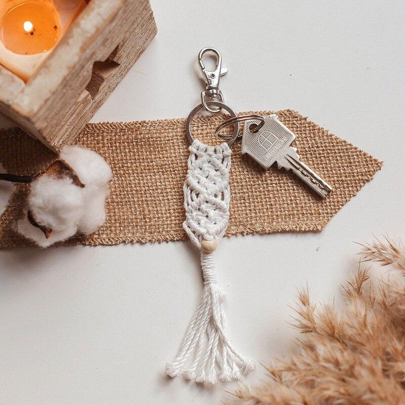 Mini macramé llaveros bolso encantos con borlas hechos a mano accesorios para coche llavero monedero decoración Gift7