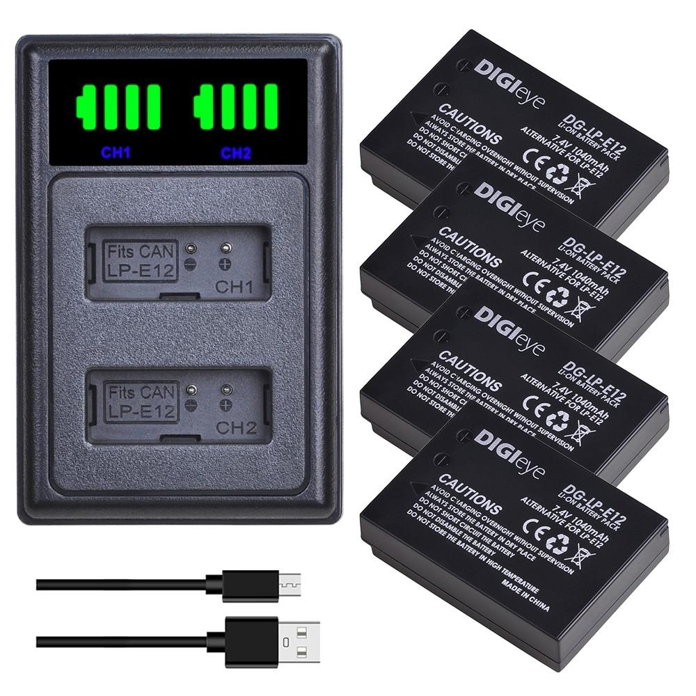 4 Uds LP-E12 LPE12 LP E12 batería de cámara + LED cargador USB Dual con tipo C para Canon Rebel SL1, EOS-M, M2, M10, M50, M100