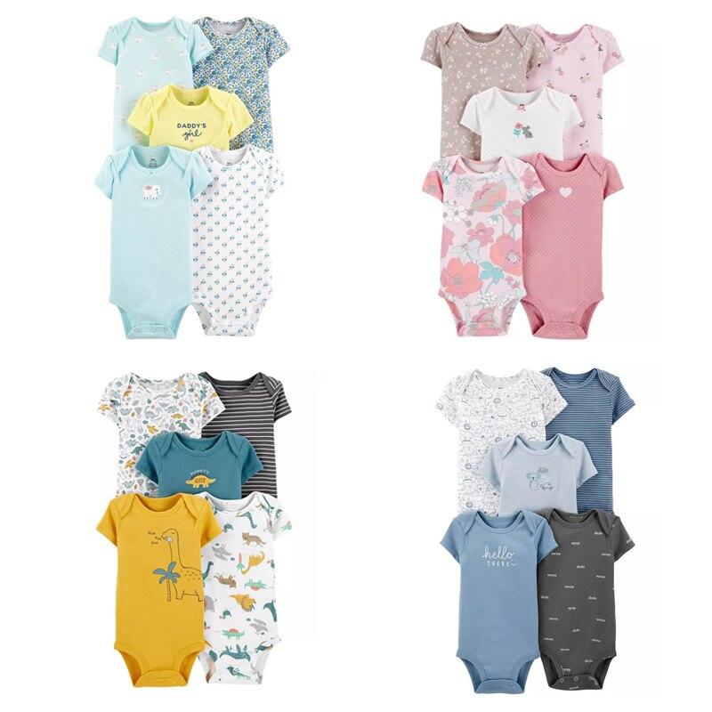 Manga curta o pescoço do bebê bodysuit flor impressão recém-nascido menino menina roupas 2021 recém nascido corpo roupas de algodão 5 pçs