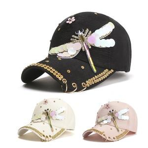 Spring And Summer Rhinestone Sequined Dragonfly Duck Tongue Hat Fashion Outdoor Fashion Ladies Sunshade Anti-Sai Baseball Cap