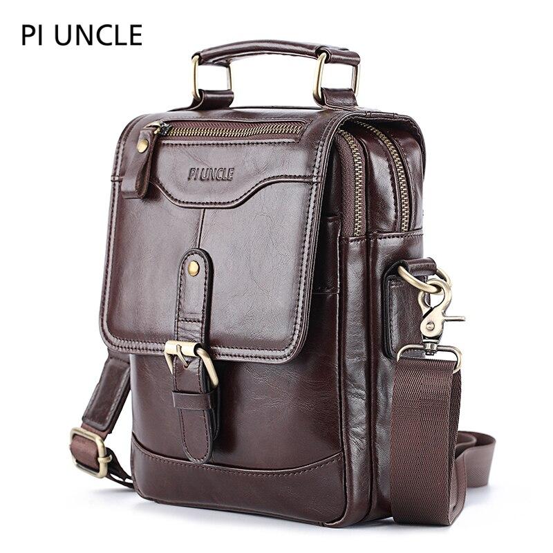 Bolso de hombro para hombre de cuero Natural de marca Piuncle, pequeño bolso con tapa, bandolera, de cuero vacuno suave, bolso de mensajero para hombre de alta calidad