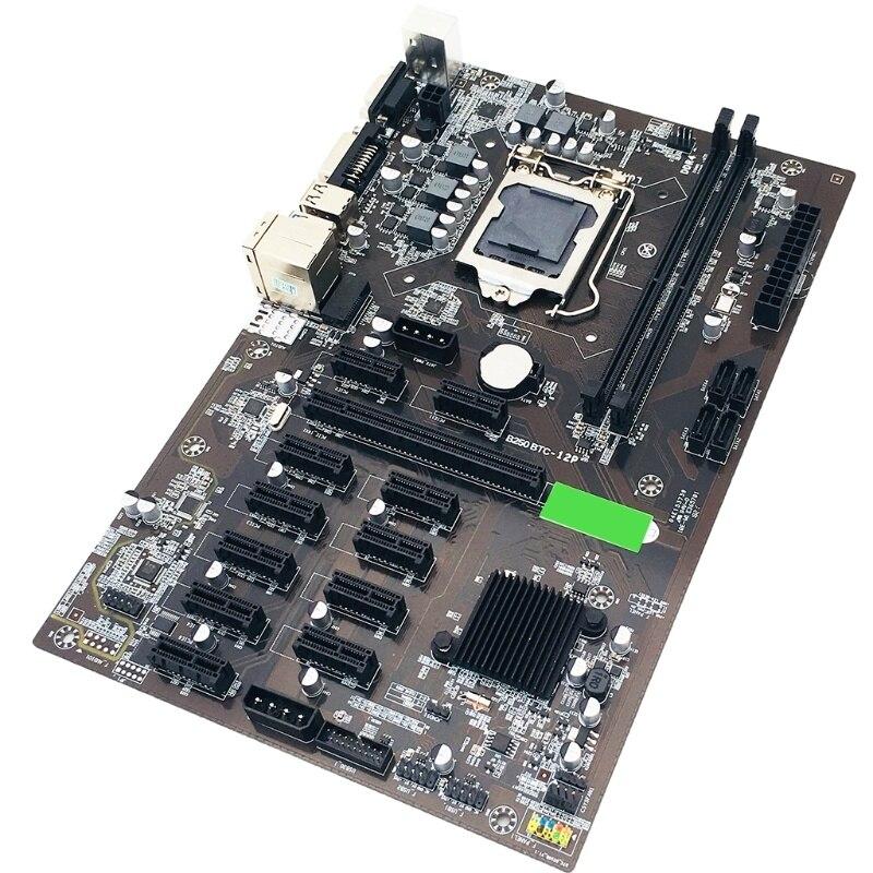 Placa base para cpu B250 btc mineiro, conjunto de 12 ranuras para Tarjeta de vídeo, compatible con memoria lga 1151, ddr4, enlarge