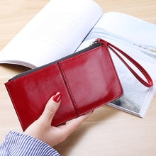 Vintage Women Oil wax Leather Zipper Clutch Wallet Female Purse Ladies Multi-function Simple Coin Pu