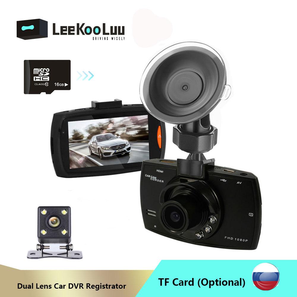 LeeKooLuu G30 coche DVR cámara de salpicadero era lente Dual con cámara de visión trasera Video grabadora Auto registrador Dvrs cámara de salpicadero grabadora de unidad