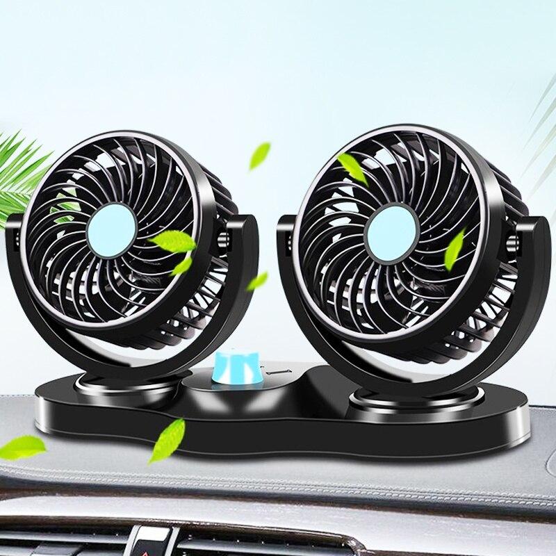 12 فولت 24 فولت 360 درجة من جميع النواحي قابل للتعديل السيارات السيارات تبريد الهواء المزدوج رئيس مروحة منخفضة الضوضاء السيارات السيارات برودة ...