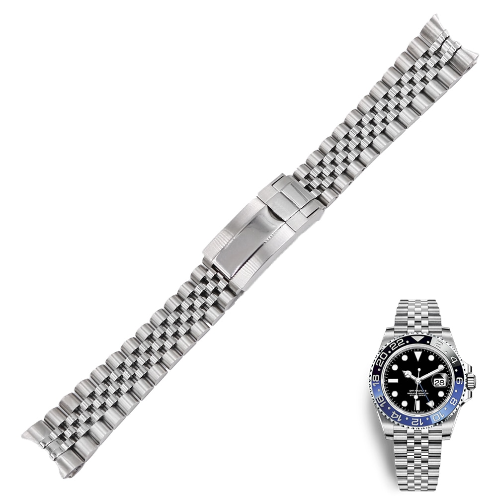 20 21mm נירוסטה החלפת יד רצועת השעון רצועת צמיד יובל עם אבזם צדפה עבור רולקס GMT Master II תאריך רק