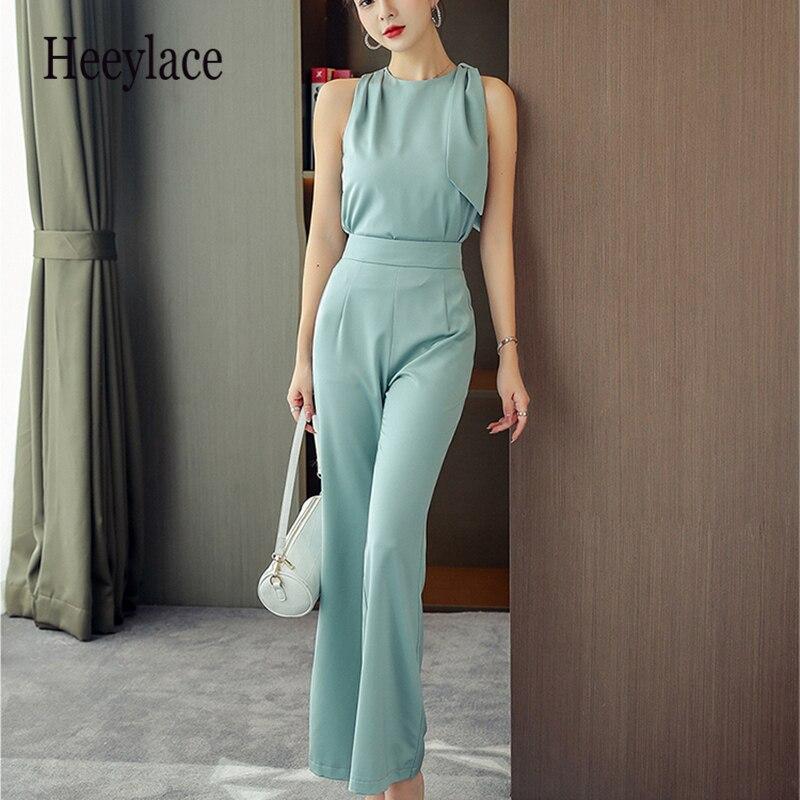 Novedad de verano, Top y pantalones de oficina para mujer, conjunto de pantalones de 2 piezas de oficina para mujer, Conjunto elegante Formal para mujer