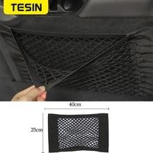 Rangement de rangement pour Jeep Wrangler voiture arrière coffre siège sac de rangement Double-pont élastique chaîne Net autocollant magique sac de poche