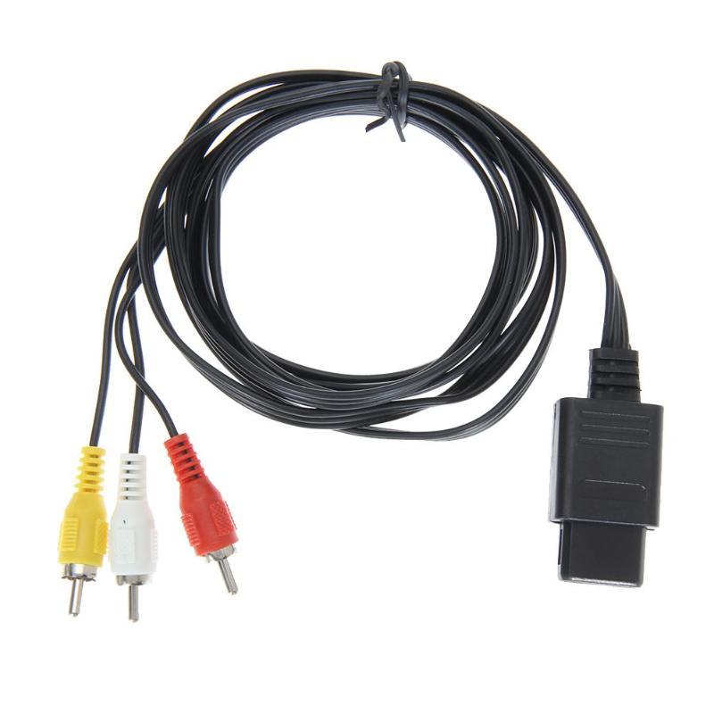 Portátil de 1,8 m 6FT AV TV RCA Video juego de Cable para Snes Nintendo 64 N64 de Audio negro conectores de salida