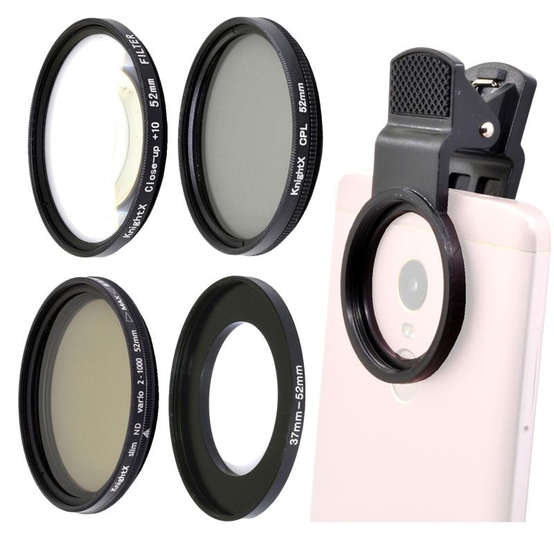 KnightX 52MM polarized cpl Neutral Density ND phone filter Macro Lens kit Mobile Lenses For iPhone S