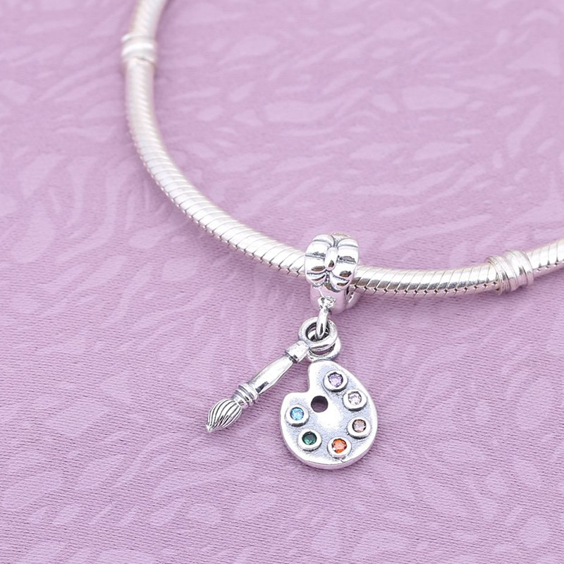 Envío Gratis Plata de Ley 925 auténtica paleta de lindos artistas con colgante de cristal compatible con pulsera Pandora y collar de joyería
