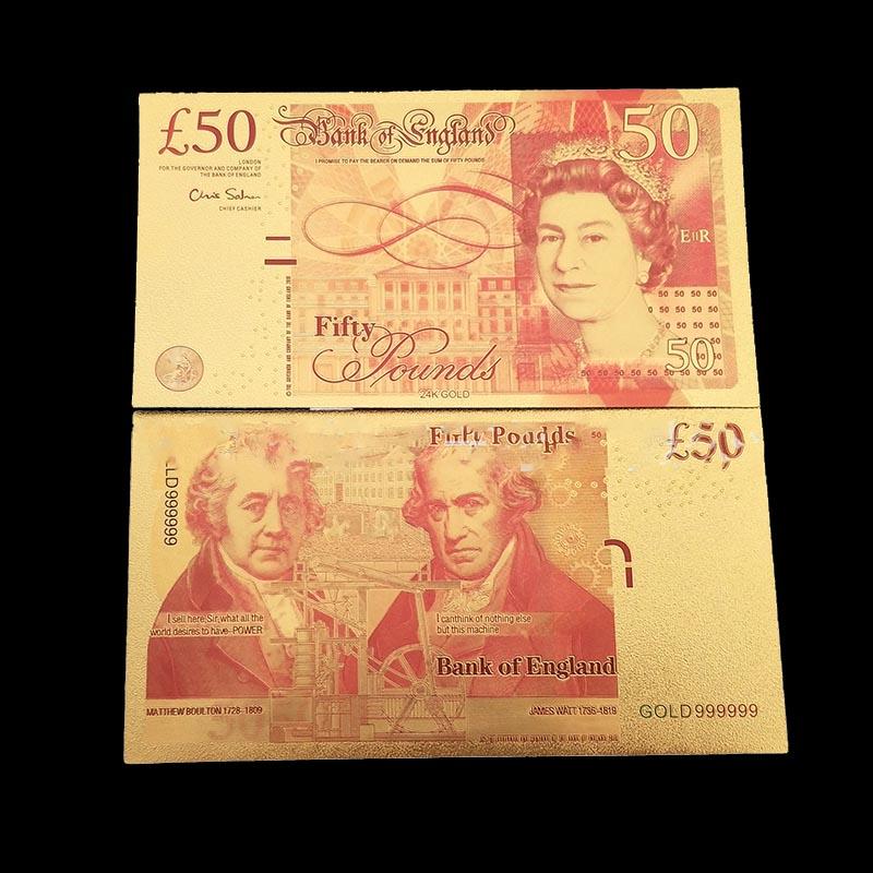 Billetes de banco de oro falso Reino Unido billetes de banco de Reino Unido 50 libras de papel de oro chapado de doble diseño UK Billetes de Colección de billetes