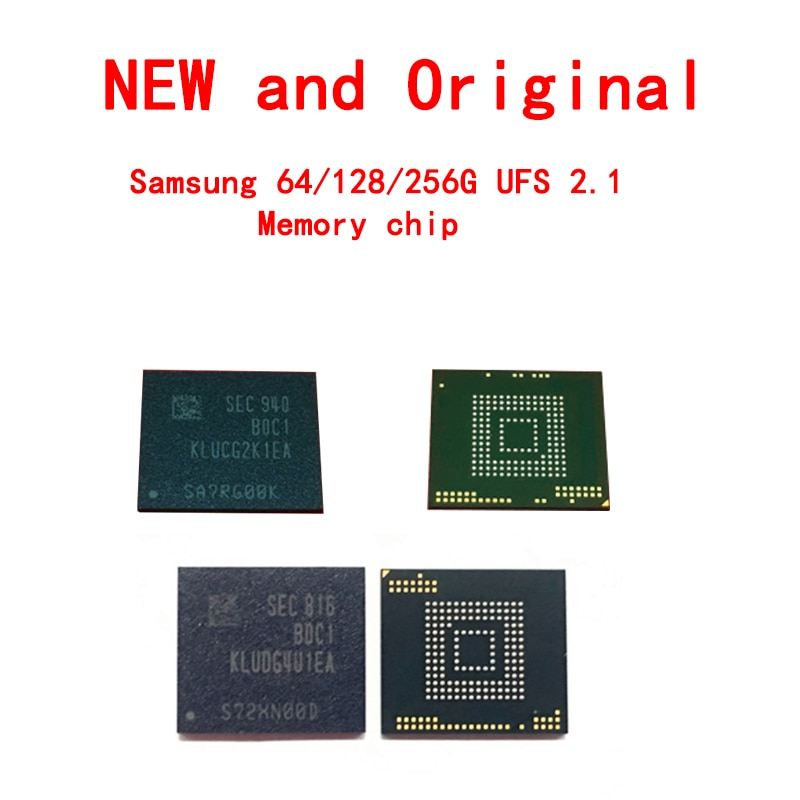 KLUDG4U1EA-B0C1 سامسونج حقيقية 64/128/256G/512G UFS 2.1 رقاقة الذاكرة BGA153 جديدة ومبتكرة