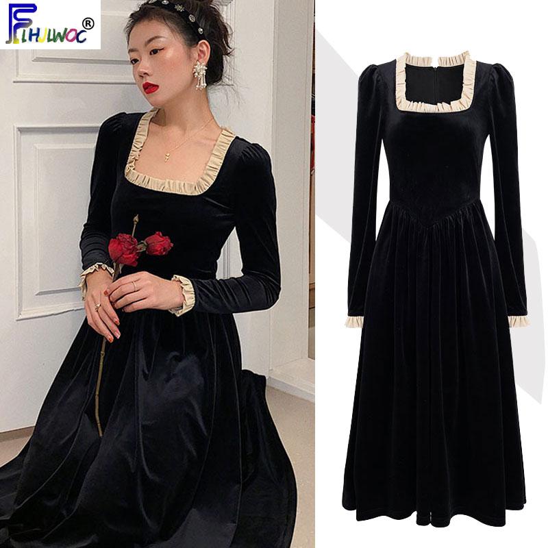 2020 New Year Party Date Dresses Women Long Sleeve Fashion Pathcowrk Ruffled A Line Elegant Black Dress Long 12315